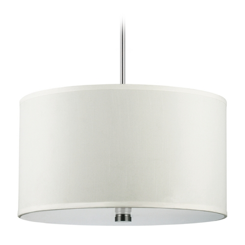 Sea Gull Lighting Modern Drum Pendant Light with White Shades in Brushed Nickel Finish 65263-962