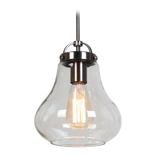 Access Lighting Access Lighting Flux Antique Nickel Mini-Pendant Light 55545-ANCK/CLR