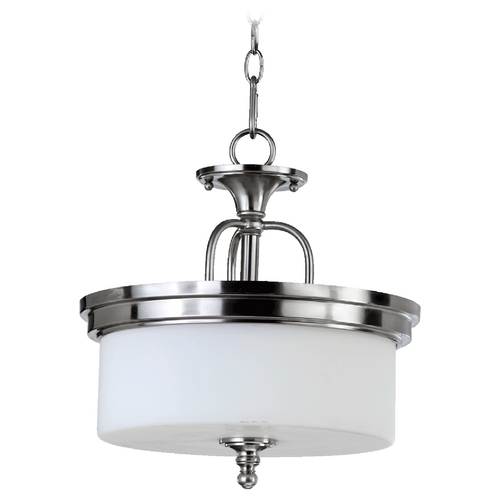Quorum Lighting Quorum Lighting Rockwood Satin Nickel Pendant Light with Drum Shade 2890-14-65