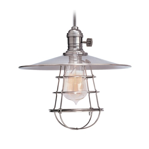 Hudson Valley Lighting Hudson Valley Lighting Heirloom Polished Nickel Pendant Light with Coolie Shade 8002-PN-MS1-WG