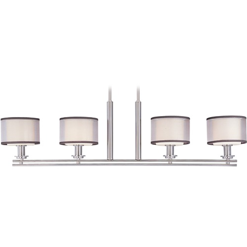 Maxim Lighting Maxim Lighting International Orion Satin Nickel Island Light with Drum Shade 23039SWSN