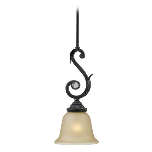 Crystorama Lighting Crystorama Lighting Winslow Dark Rust Mini-Pendant Light with Bell Shade 6701-DR