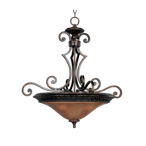 Maxim Lighting Pendant Light with Amber Glass in Oil Rubbed Bronze Finish 11242SAOI