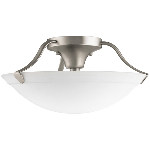 Kichler Lighting Kichler Brushed Nickel Semi-Flushmount Light with White Glass 3627NI
