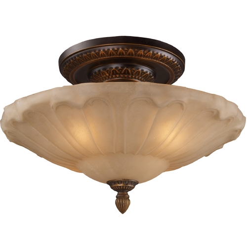 Elk Lighting Semi-Flushmount Light with Amber Glass in Golden Bronze Finish 08093-AGB