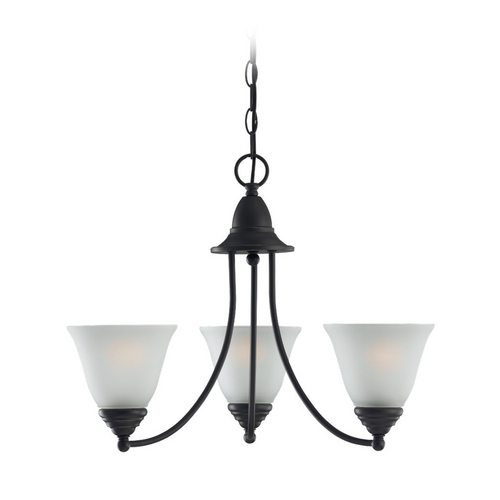 Sea Gull Lighting Chandelier with White Glass in Heirloom Bronze Finish 31575-782