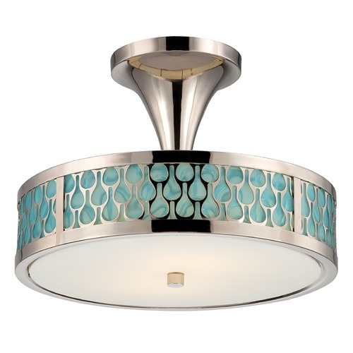 Nuvo Lighting Modern LED Semi-Flushmount Light with White Glass in Polished Nickel Finish 62/145