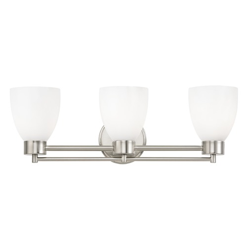 Design Classics Lighting Modern Bathroom Light with White Glass in Satin Nickel Finish 703-09 GL1024MB