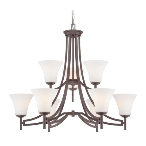 Minka Lavery Chandelier with White Glass in Harvard Court Bronze Finish 4939-284