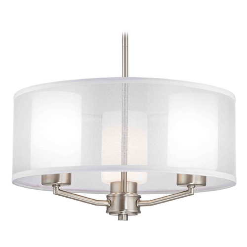 Design Classics Lighting Palatine Fuse Contemporary Satin Nickel Pendant Light with Cylinder Glass 1723-09 GL1024C