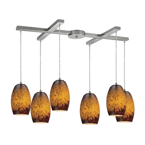 Elk Lighting Modern Multi-Light Pendant Light with Amber Glass and 6-Lights 10220/6SUN