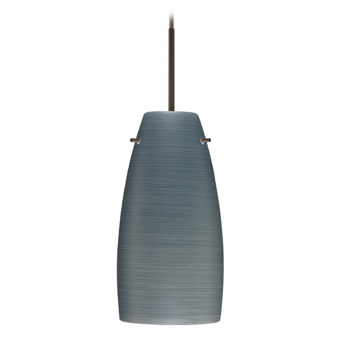 Besa Lighting Besa Lighting Tao Bronze LED Mini-Pendant Light with Oblong Shade 1JT-1512TN-LED-BR
