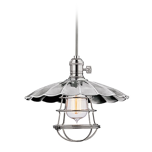 Hudson Valley Lighting Hudson Valley Lighting Heirloom Polished Nickel Pendant Light with Scalloped Shade 8002-PN-MS3-WG