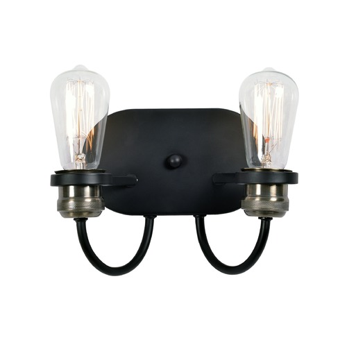 Kenroy Home Lighting Industrial Edison Bulb Sconce Black with Brass 9.375-Inch by Kenroy Home Lighting 93890BL