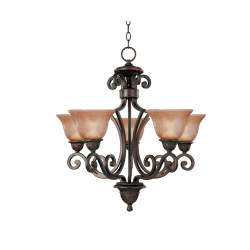 Maxim Lighting Chandelier with Amber Glass in Oil Rubbed Bronze Finish 11244SAOI