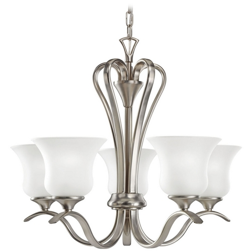 Kichler Lighting Kichler Chandelier with White Glass in Brushed Nickel Finish 10740NI