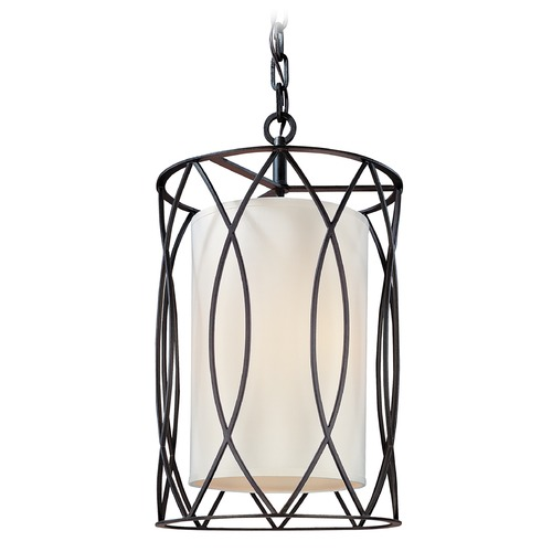 Troy Lighting Pendant Light with White Shades in Deep Bronze Finish F1287DB