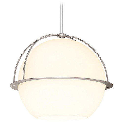 Access Lighting Modern Pendant Light with White Glass in Brushed Steel Finish 52045-BS/OPL