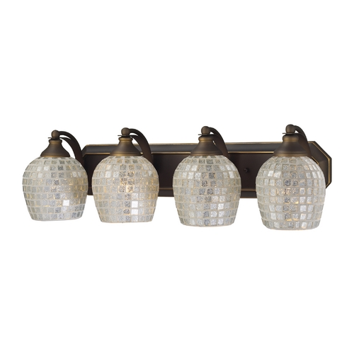 Elk Lighting Bathroom Light with Art Glass in Aged Bronze Finish 570-4B-SLV
