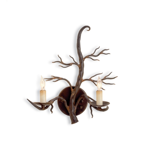 Currey and Company Lighting Plug-In Branch Wall Lamp in Old Iron Finish 5307