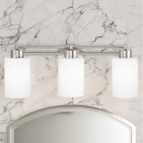 Design Classics Lighting Modern Bathroom Light with White Glass in Satin Nickel Finish 703-09 GL1028C
