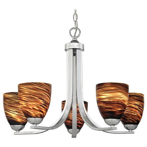 Design Classics Lighting Modern Chandelier with Brown Art Glass in Polished Chrome Finish 584-26 GL1023MB