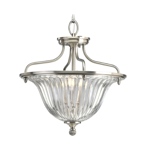 Progress Lighting Progress Crystal Ceiling Semi-Flushmount Light with Clear Glass P2817-101