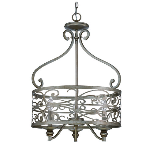 Jeremiah Lighting Jeremiah Worthington Athenian Obol Pendant Light with Drum Shade 35833-AO