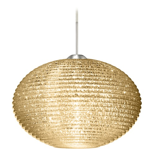 Besa Lighting Besa Lighting Pape Satin Nickel LED Pendant Light with Globe Shade 1JT-4913GD-LED-SN