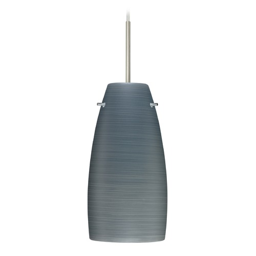 Besa Lighting Besa Lighting Tao Satin Nickel LED Mini-Pendant Light with Oblong Shade 1JT-1512TN-LED-SN