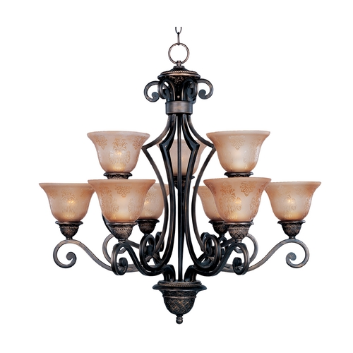 Maxim Lighting Chandelier with Amber Glass in Oil Rubbed Bronze Finish 11245SAOI