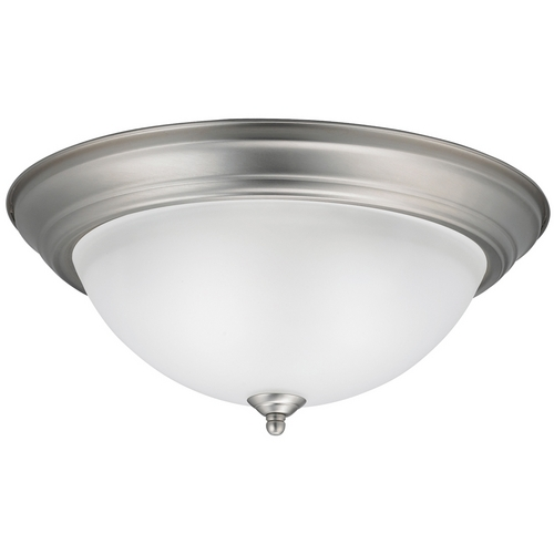 Kichler Lighting Kichler Modern Brushed Nickel Flushmount Light with White Glass 8116NI