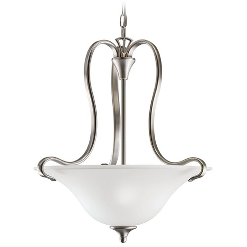 Kichler Lighting Kichler Modern Pendant Light with White Glass in Brushed Nickel Finish 10742NI