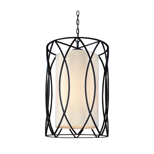 Troy Lighting Pendant Light with White Shades in Deep Bronze Finish F1288DB