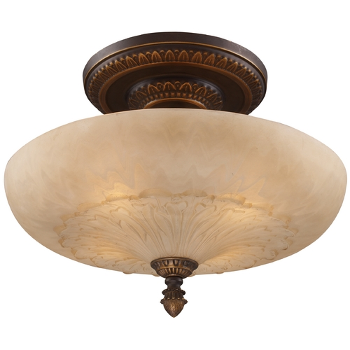 Elk Lighting Semi-Flushmount Light with Amber Glass in Golden Bronze Finish 08095-AGB