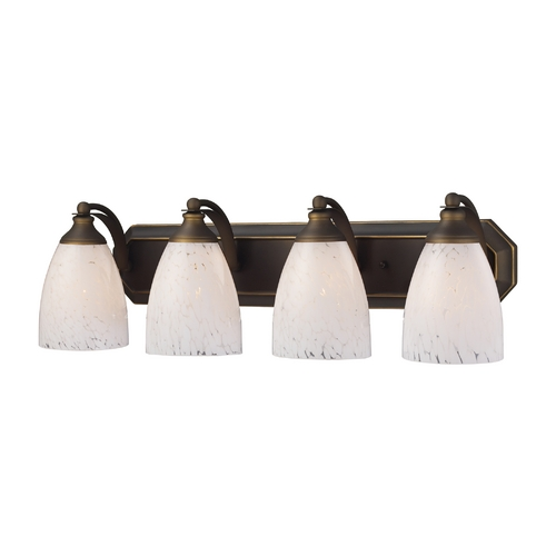 Elk Lighting Bathroom Light with Art Glass in Aged Bronze Finish 570-4B-SW