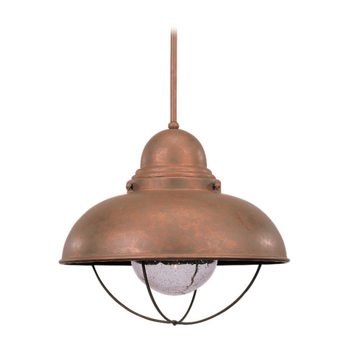 Sea Gull Lighting Pendant Light with Clear Glass in Weathered Copper Finish 6658-44