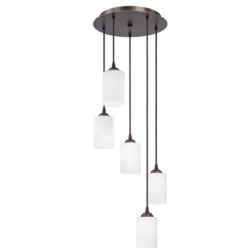 Design Classics Lighting Modern Multi-Light Pendant Light with White Glass and 5-Lights 580-220 GL1028C