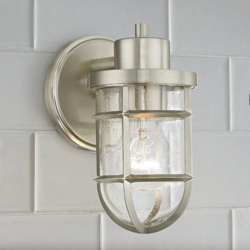 Design Classics Lighting Seeded Glass Wall Sconce with Satin Nickel Cage 1841-09