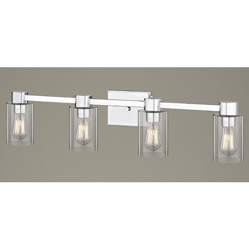 Design Classics Lighting 4-Light Clear Glass Bathroom Light Chrome 2104-26 GL1040C