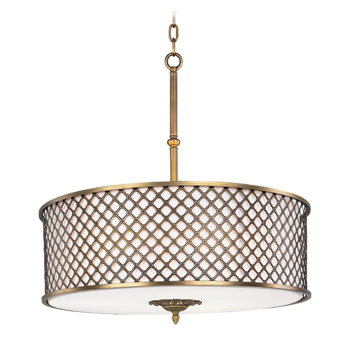 Maxim Lighting Maxim Lighting Manchester Natural Aged Brass Pendant Light with Drum Shade 22364OMNAB