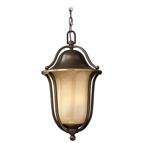 Hinkley Lighting Light Amber Seeded Glass Outdoor Hanging Bronze Hinkley Lighting 2632OB-GU24