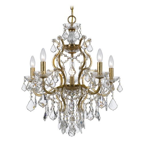 Crystorama Lighting Crystorama Lighting Filmore Antique Gold Crystal Chandelier 4455-GA-CL-SAQ