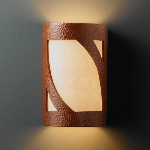 Justice Design Group Sconce Wall Light with White in Hammered Copper Finish CER-5335-HMCP