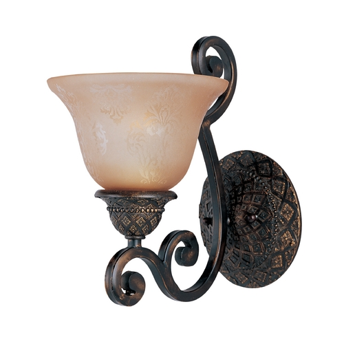 Maxim Lighting Sconce Wall Light with Amber Glass in Oil Rubbed Bronze Finish 11246SAOI