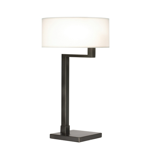 Sonneman Lighting Modern Table Lamp with White Shade in Black Brass Finish 6080.51