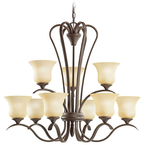 Kichler Lighting Kichler Chandelier with Beige / Cream Shades in Olde Bronze Finish 10741OZ