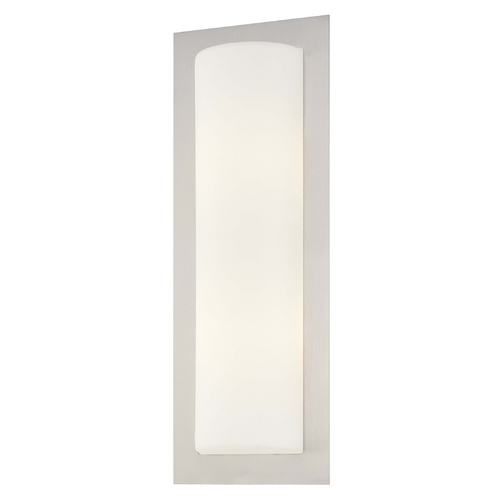 George Kovacs Lighting Modern Sconce Wall Light with White Glass in Brushed Steel Finish P563-144A