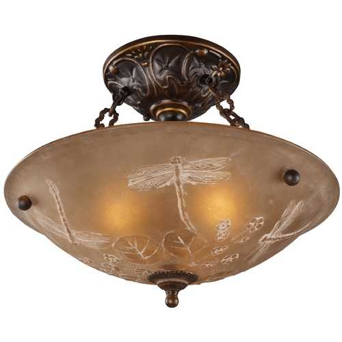 Elk Lighting Semi-Flushmount Light with Amber Glass in Golden Bronze Finish 08096-AGB