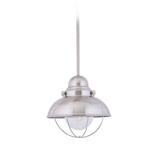 Sea Gull Lighting Pendant Light with Clear Glass in Brushed Stainless Finish 6658-98